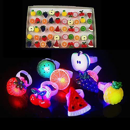 FeiyanfyQ 50 Stück Mini Traubenapfel Kiwi Frucht LED Leuchtring Kinder Spielzeug Party Gastgeschenke