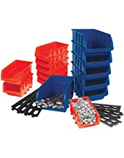 Performance Tool W5195 Storage Bin Set, 15-Piece, Red/Blue