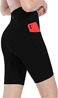"SPRING SEAON Yoga Shorts for Women with Pockets 8"" High Waist Biker Shorts Workout Prints & Solid Color Athletic Shorts"