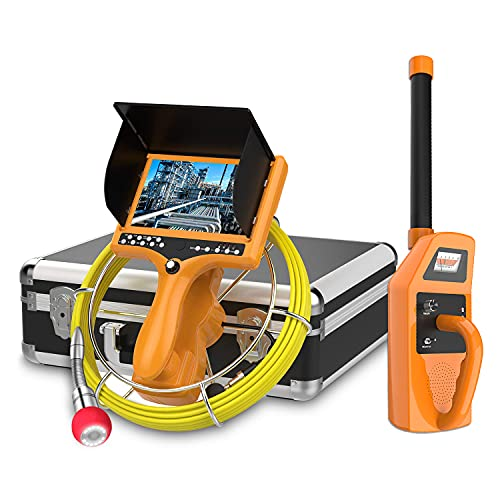 Sewer Camera with Locator and Distance Counter, Anysun 512Hz Transmitter and Receiver Pipe Cam with DVR Recorder, Waterproof IP68 Drain Plumbing Camera Pipeline Endoscope with 30M/100ft Cable