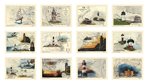 Postkarten/Grußkarten/Sammel-Set von Thomas Kubitz mit den Motiven des 'Moin, moin'-Kalenders 2014 (Leuchttürme, Ostsee und Nordsee auf historischen Seekarten)