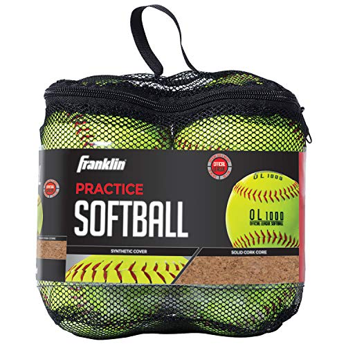Franklin Sports Practice Softballs - Youth Softballs Great for Kids - Official Size + Weight Softball - Perfect for Practice - 12