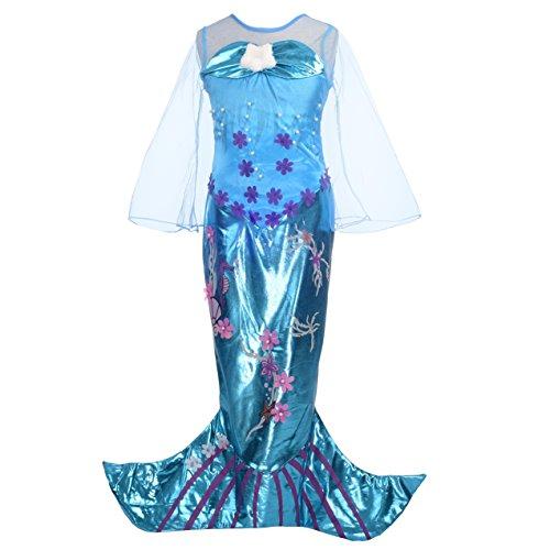 Lito Angels Mädchen Prinzessin Meerjungfrau Kleid Kostüm Geburtstag Weihnachten Halloween Party Verkleidung Karneval Cosplay mit Paillette 7 Jahre