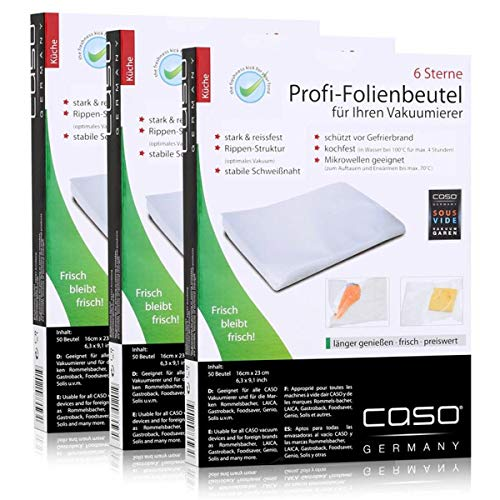 Caso Profi- Folienbeutel 16x23cm / 50 Beutel für Vakuumierer Caso (3er Pack)