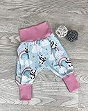 Pumphose Jersey haremshose Gr. 56-110, hose mädchen, Panda pink, Babyhose, Kinderhose