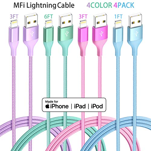 iPhone Charger Lightning Cable 4Pack(6/3/3/1ft) 4Color Apple MFi Certified Nylon Braided Long Fast USB Cord Compatible for iPhone 11Pro MAX Xs XR X 8 7 6S 6 Plus SE 5S 5C (Purple+Blue Green Rose)
