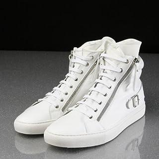 セレブシューズ メンズ 本革 牛皮 モード レザーハイカット2サイドジップアップスニーカー 2色 黒 白 ブラック ホワイト スポーツ 24cm-27cm 靴くつ