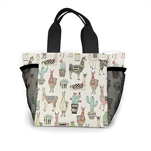 Lovely Llamas Cactus Hoedown Gray Xmas Logo Handbag Women Fashion Bag Reusable Shopping Bags Light Handbags High Capacity Gift Bags Food Storage Bags