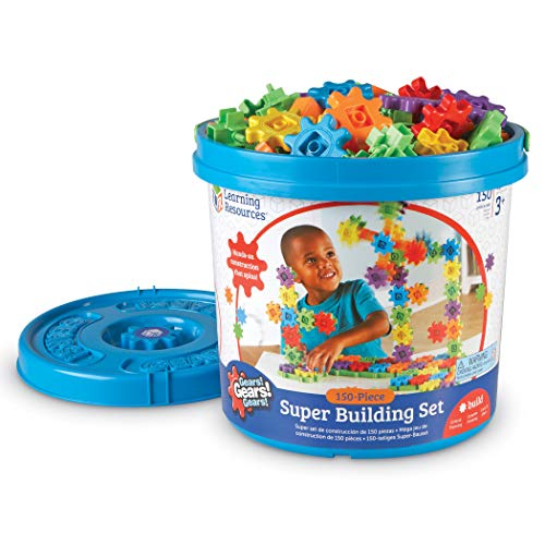 Image of the Learning Resources Gears! Gears! Gears! Super Building Toy Set, 150 Pieces, Ages 4+