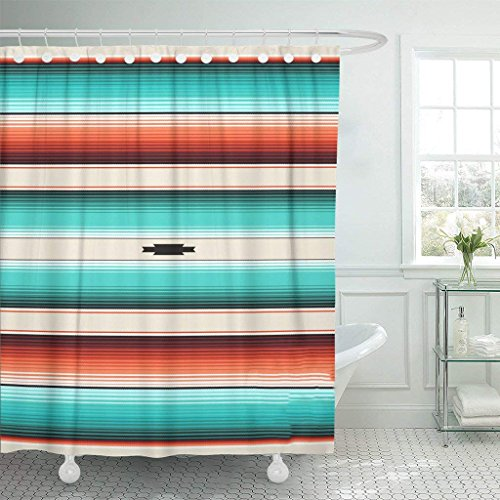 Emvency Shower Curtain Turquoise Orange Navajo White Stripes Mexican Serape with Threads Native Ethnic Boho Waterproof Polyester Fabric 72 x 72 inches