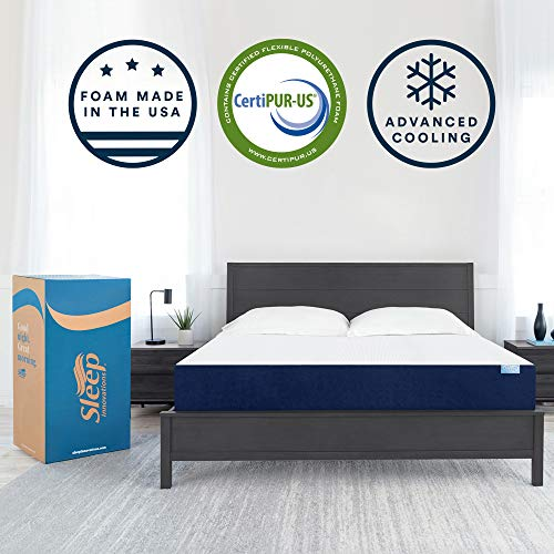 Sleep Innovations Marley 10inch Cooling Gel Memory Foam Mattress Bed in a Box Made in the USA Queen White