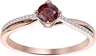 Dabangjewels 7mm Round Cut Red Garnet /& Diamond 14k Rose Gold Over .925 Sterling Silver Engagement Promise Ring For Womens