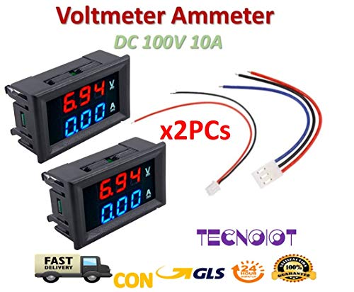 2pcs DC voltmeter ammeter Blue 100V 10A + LED red digital voltmeter double amplifier caliber