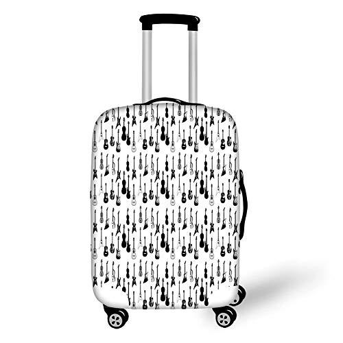 Travel Bagage Cover Koffer Beschermer, Muziek, Monochrome Snaren Verschillende Soorten Akoestische en Elektronische Gitaar Cello Viool, Zwart Wit Grijs, voor Reizen