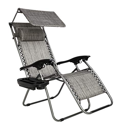 Zero Gravity Recliner,Lounge Chairs for Outside,350lbs Capacity, Adjustable Lawn Chair, with Headrest, Suitable for Outdoor, Camping, Terrace, Lawn (Gray)