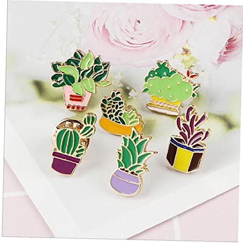 YepYes 6pcs Nette Broschen Emaille-Kaktus-Blume Gras Aloe Vera Topfpflanze Abzeichen Buttons