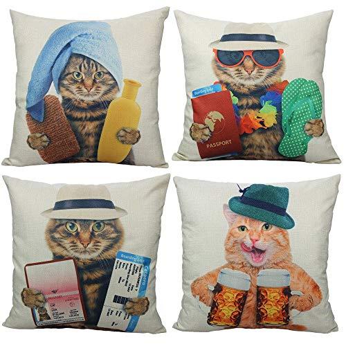 All Smiles Gato Exterior Fundas de Cojín y Almohada Decorativas Garfield Atigrado y Naranja Divertidos Animales Lindos para el Hogar al Aire Libre Sofá Decoración 45x45CM,4PC
