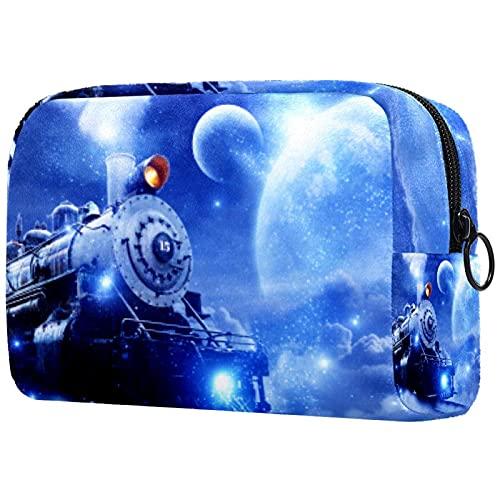 Belleza maquillaje bolsas portátil viaje cosmético bolsa de cuero multifunción con cremallera bolsas de aseo para mujeres barco pirata, Star Train 3, 18.5x7.5x13cm/7.3x3x5.1, Neceser de maquillaje