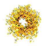 TUIHJA Corona artificial Forsythia, corona de primavera de flores amarillas, corona de primavera y verano para puerta delantera, decoración del hogar
