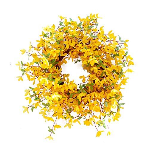 Rylod 22 coronas artificiales de Forsythia para colgar en casa de campo artificial, guirnalda de flores de forsythia amarilla, para interior y exterior, coronas de puerta delantera