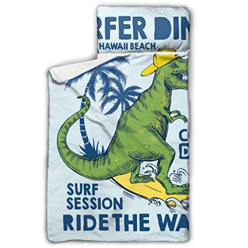 """SGFDH Dinosaur is Riding Surfboard Best Toddler Nap Mat Nap Mat Daycare with Blanket and Pillow Rollup Design Great for Preschool Daycare Sleepovers 50""""x20"""""""