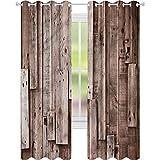 Cortina opaca para ventana de madera, diseño vintage de granero de 52 x 63 cm, para oscurecer la habitación, para sala de estar