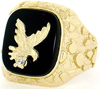 14k Solid Yellow Gold Nugget Onyx Eagle Mens Ring