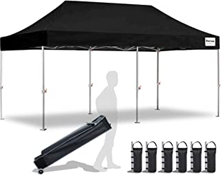 EliteShade 10'x20' Commercial Ez Pop Up Canopy Tent Instant Canopy Party Tent Sun Shelter with Heavy Duty Roller Bag,Bonus 4 Weight Bags,Black