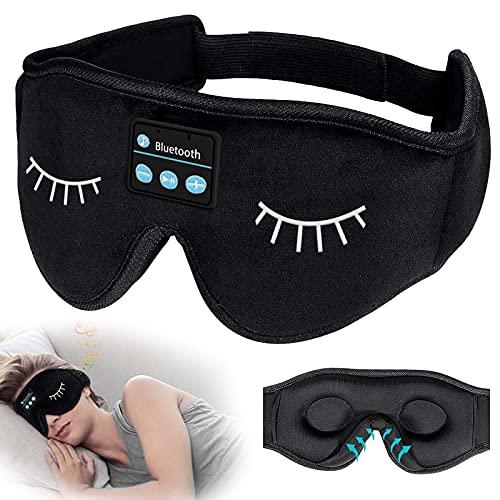 SchlafKopfhörer Bluetooth, 3D Schlafmaske Augenmaske Schlaf Kopfhörer waschbare 5.0 Bluetooth Wireless Schlaf Headband Freisprech Stirnband mit integriertem Lautsprecher und Mikrofon für Yoga Reisen