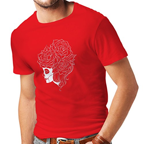 T-Shirt pour Hommes Fashion Skull Flower (Medium Rouge Multicolore)