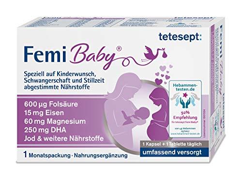 tetesept Femi Baby – Nährstoffe für Kinderwunsch, Schwangerschaft & Stillzeit - 16 Vitamine & Nährstoffe wie Folsäure, Eisen, Magnesium, DHA, Jod – 1 x Monatspackung à 30 Tabletten + 30 Kapseln