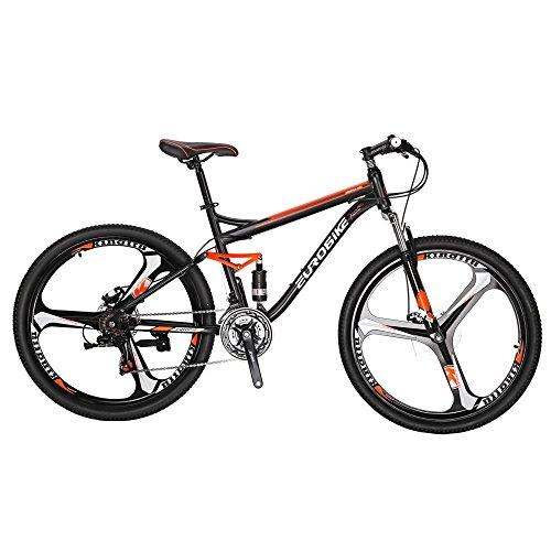 Eurobike EURS7 Mountain Bike 27.5 Inches 3 Spoke Wheels Dual Suspension Mountain Bicycle 21 Speed Bike Black Orange