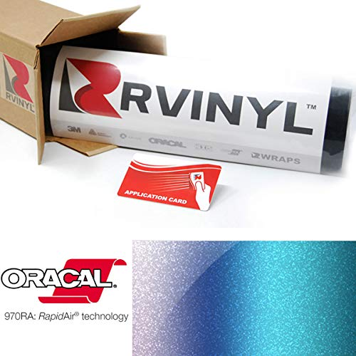 ORACAL 970RA Shift Effect Gloss Turquoise Lavender 989 Wrapping Cast Film Vehicle Car Wrap Vinyl Sheet Roll - (1ft x 5ft w/App Card)