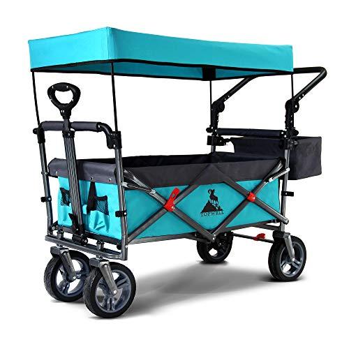 TOPWELL 360 ° Rad All-Terrain bollerwagen, Klappwagen Transportwagen, Fußbremse und bewegliches Dach, Kinder Klappwagen, 83 Liter, 120 kg(himmelblau)