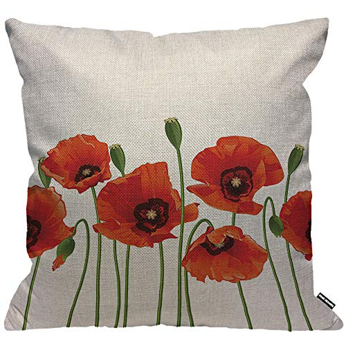 HGOD DESIGNS Cushion Cover Flower Poppies Of Spring Season Pastoral Flowers Botany Bouquet Field Nature Theme Art Throw Pillow Cover Home Decorative for living room Bedroom Sofa 18X18 Inch Pillowcase