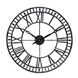 Large Wall Clock, 24' Round Oversized Ancient Roman Numeral Style Home Décor Analog Metal Clock-Indoor Silent Battery Operated Metal Country Farmhouse Decorative Wall Clock for Home (Silver & Black)