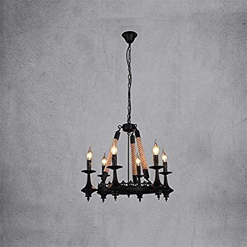 JIAN Exquise Lighting ZjNhl kroonluchter van smeedijzeren retro nostalgie verstelbaar grote kroonluchter industrie vintage antiek henneptouw licht creatieve loft hanger kandelaar kaars plafondlamp