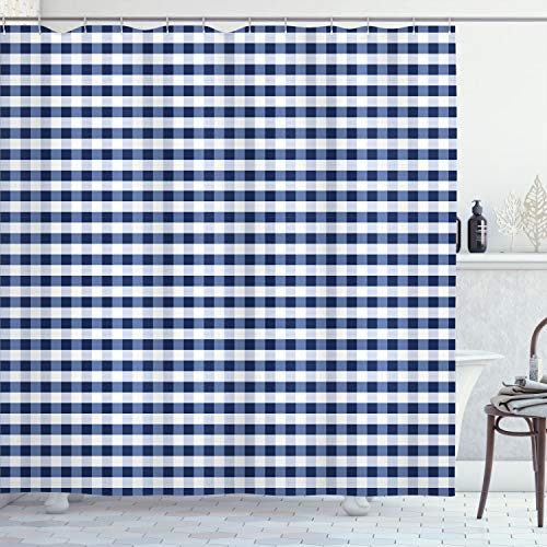 """Ambesonne Checkered Shower Curtain, Monochrome Gingham Checks Classical Country Culture Old Fashioned Grid Design, Cloth Fabric Bathroom Decor Set with Hooks, 70"""" Long, Night Blue"""