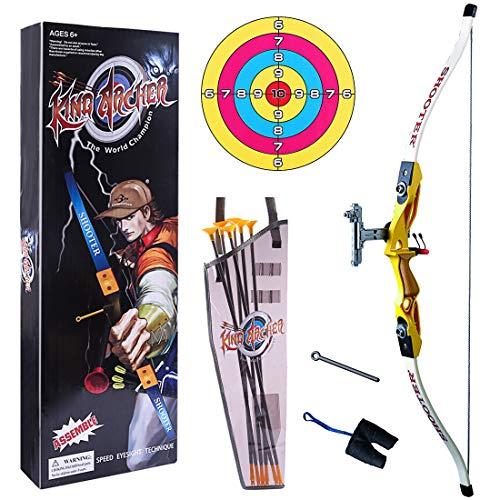 MOEGEN niños Arco y Flechas Juguete Tiro con Arco para niños con 6 Flechas, 1 Carcaj , 1 Arcoy 1 Objetivo