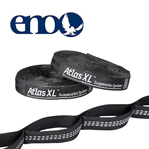 ENO Atlas Sangle XL pour hamac avec système de Suspension Noir Solide et sécurisé Facile à Utiliser sans nœuds 40 réglages en polyfillament Poids 510 g Capacité 181 kg Sangle Extra Longueur 54 Pouces