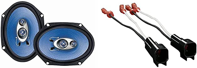 """$39 » 6"""" x 8"""" Car Sound Speaker (Pair) - Upgraded Blue Poly Injection Cone 3-Way 360 Watts w/Non-fatiguing Butyl Rubber Surround..."""