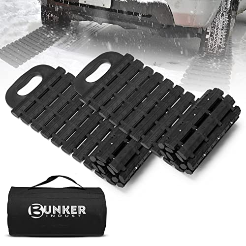 BUNKER INDUST Tire Traction Mats Portable Recovery Tracks for Off Road 4X4 Snow, Sand,Emergency Devices for Cars, Trucks, Van(2 Pack)