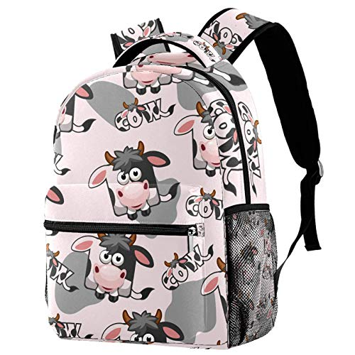 Kids Backpack Boys Girls Backpack Children's School Backpack Book Bag with Side Pockets Cartoon Cow