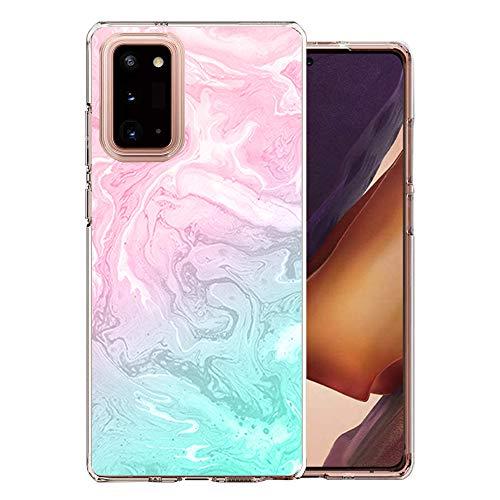 Samsung Galaxy Note 20 Hülle mit Panzerglas Schutzfolie ,Süße motiv Sonnenblume Blühen Blumen Marmor Muster TPU Bumper Handytasche Etui Stoßfest Durchsichtig Schutzhülle Transparent für Note 20-14