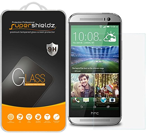 Supershieldz (2 Pack) for HTC One M8 Tempered Glass Screen Protector Anti Scratch, Bubble Free