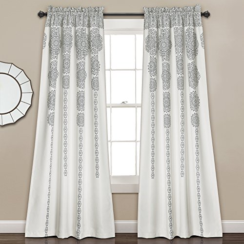 Stripe Medallion Curtains Bohemian Damask Print Window Panel