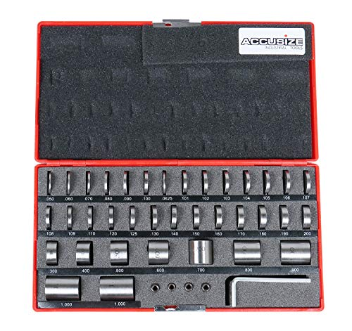 Accusize Industrial Tools 36 Pc Steel Space Block Set in Fitted Case, Ec04-7001