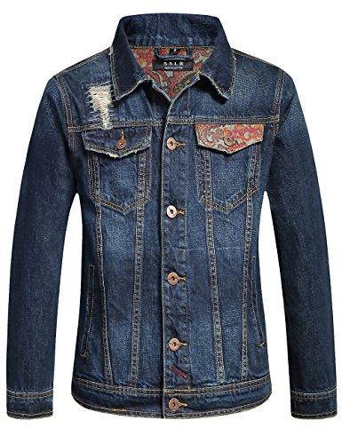 SSLR Men's Patchwork Button Down Western Denim Jackets (Medium, Blue)