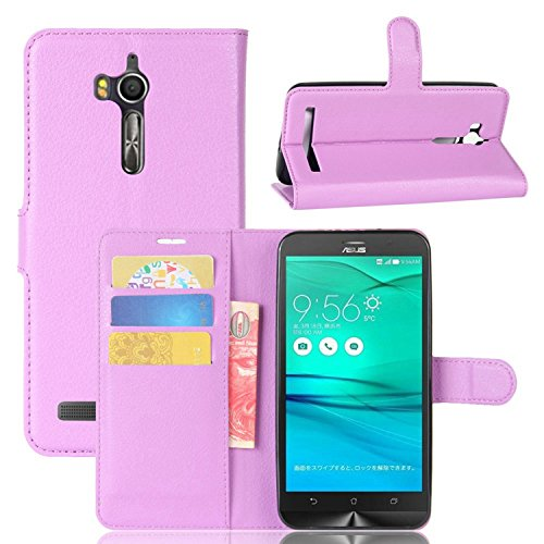 Tasche für Asus ZenFone Go ZB552KL Hülle , Ycloud PU Kunstleder Ledertasche Flip Cover Wallet Hülle Handyhülle mit Stand Function Credit Card Slots Bookstyle Purse Design lila