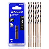"""1/16"""" HSS Black and Gold Coated Twist Drill Bit, Jobber Length, 135 Degree Split Point, General Purpose, Suitable for drilling on Steel, Copper, Aluminum, Zinc Alloy, Wood, Plastics. Ideal for DIY Projects and Home Maintenance. (6-piece)"""